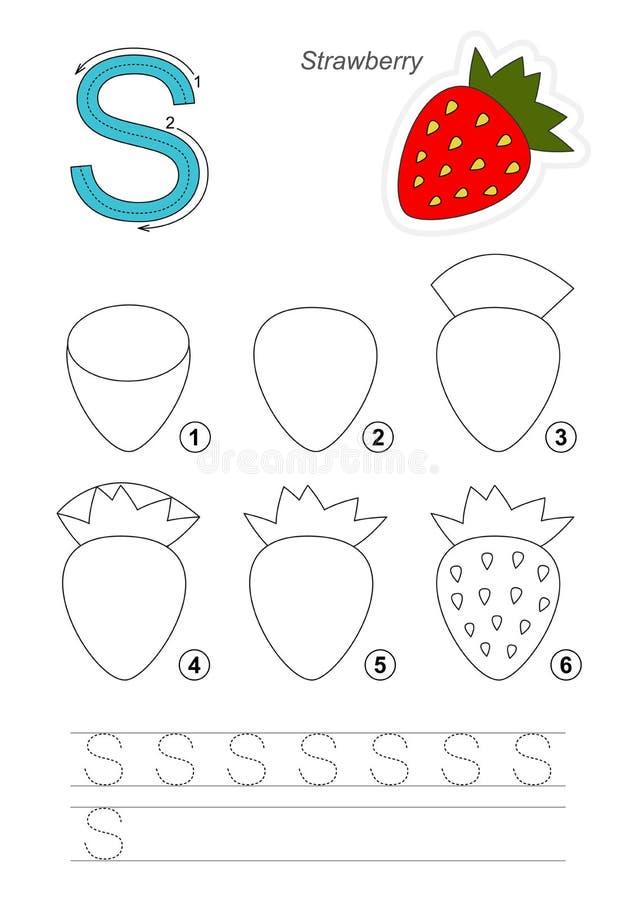 Tutorial del dibujo Juego para la letra S La fresa ilustración del vector