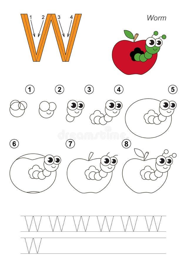Tutorial del dibujo Juego para la letra W Apple worm libre illustration