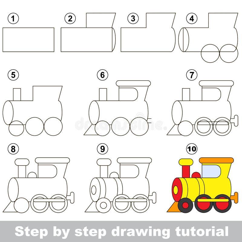 Tutorial del dibujo Juego para la locomotora ilustración del vector
