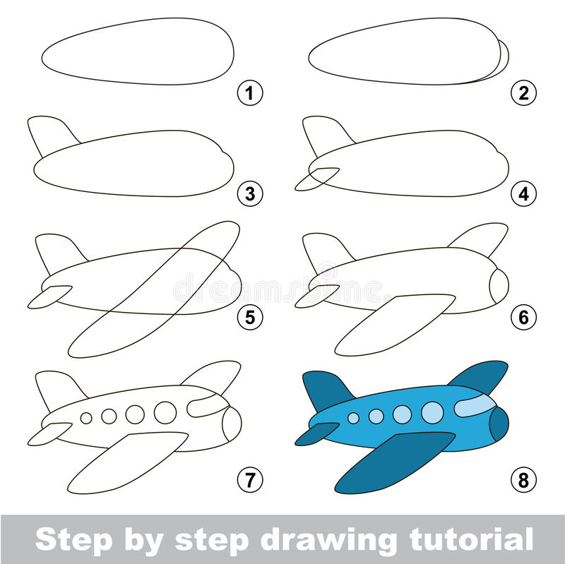 Tutorial del dibujo Juego para los aviones stock de ilustración