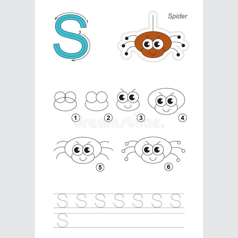 Tutorial del dibujo Juego simple para la letra S La araña libre illustration