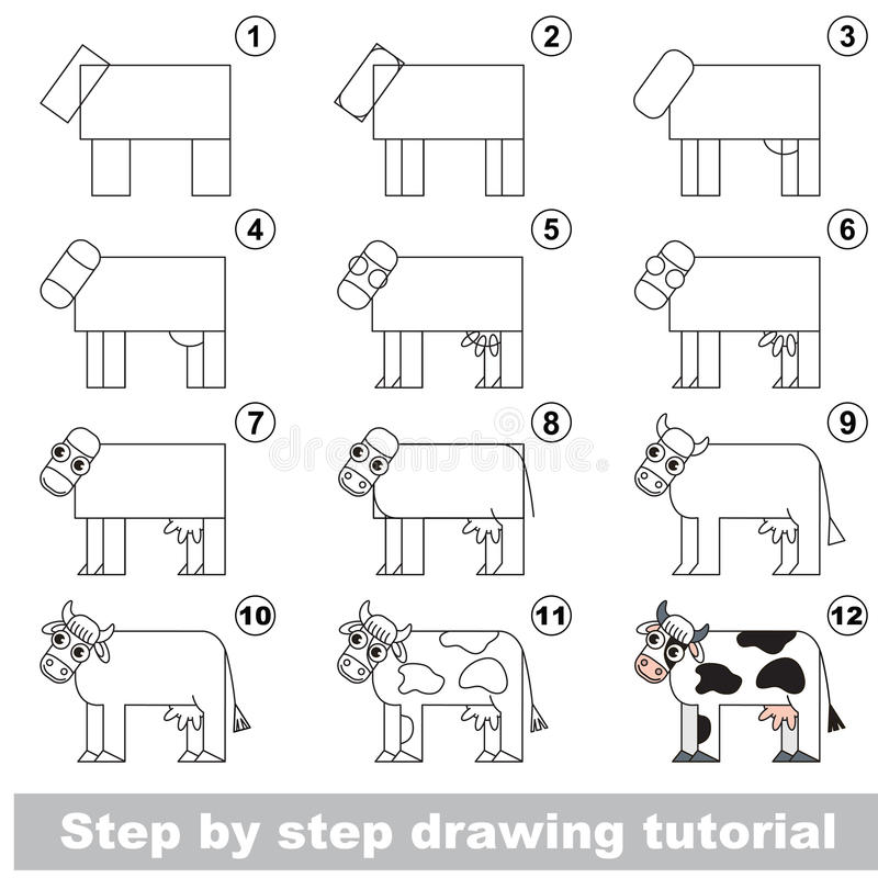 Tutorial del niño del dibujo stock de ilustración