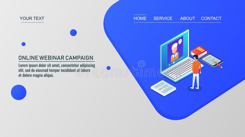 Tutorial en línea webinar, en línea video, educación en línea, concepto de diseño isométrico imagen de archivo