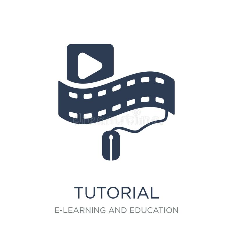 Tutorial icon. Trendy flat vector Tutorial icon on white background from E-learning and education collection vector illustration
