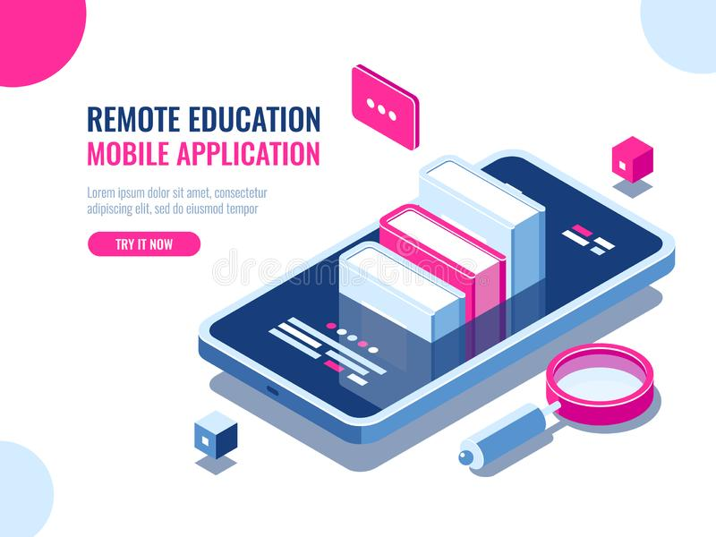 Tutorial on mobile phone application, online education, internet course, data searching, archive ebook cartoon flat royalty free illustration