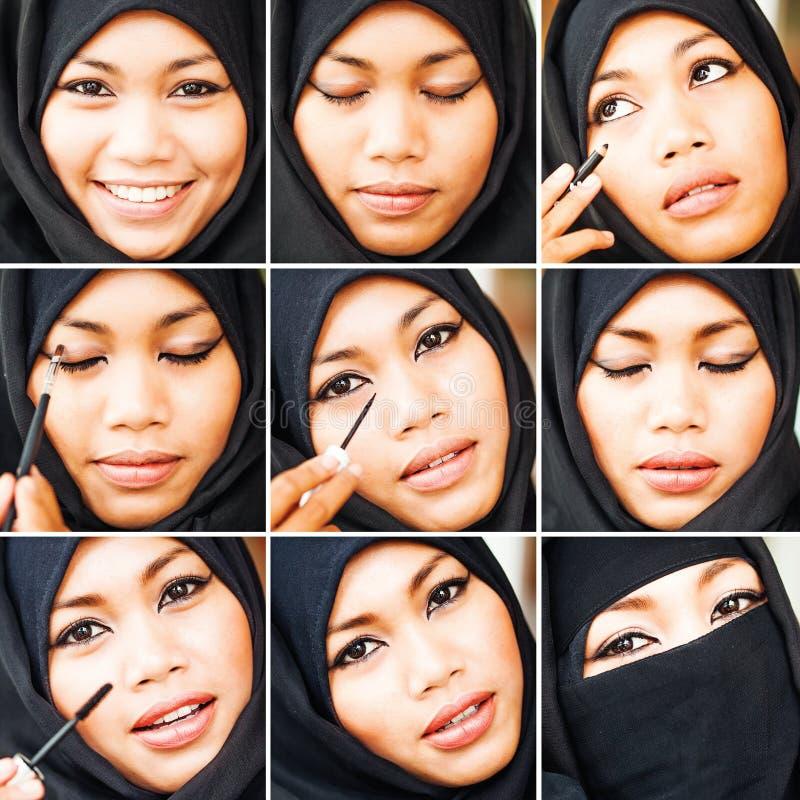 Tutorial musulmán del maquillaje foto de archivo
