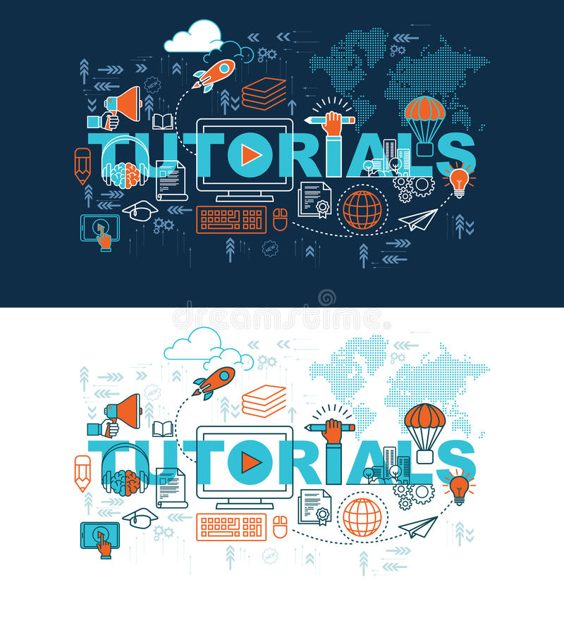 Tutorials web page banner concept with thin line flat design stock illustration