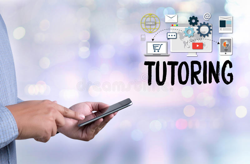 TUTORING , Tutor and his online education , Teaching Tutoring stock photography
