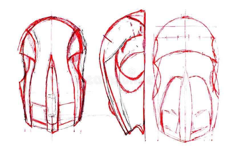 Tutorium stellen eine Computermaus her Technische Zeichnung stock abbildung