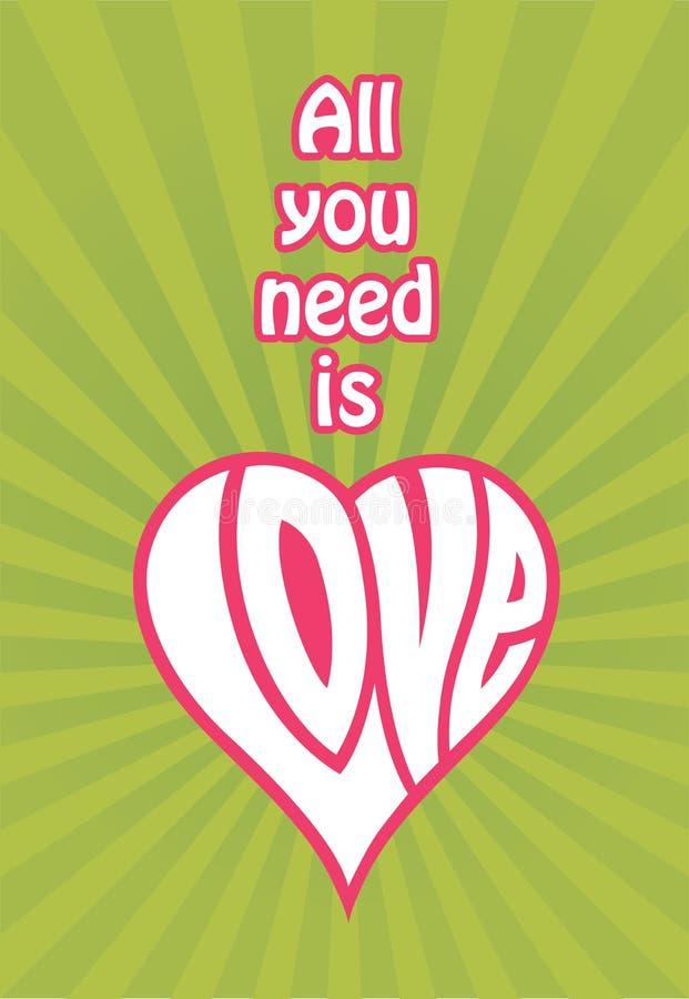 Tutta che abbiate bisogno di è progettazione di amore illustrazione vettoriale