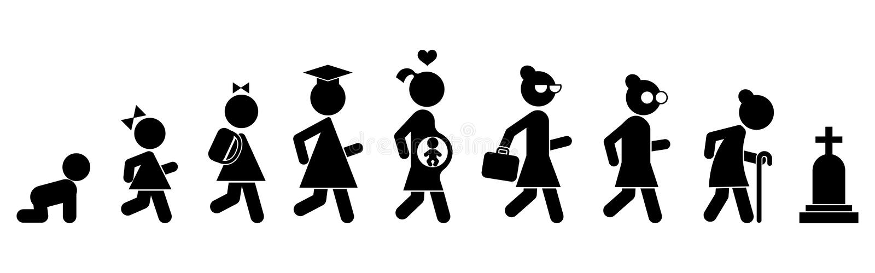 Tutta l'icona piana delle donne di età La gente delle generazioni Fasi di sviluppo royalty illustrazione gratis