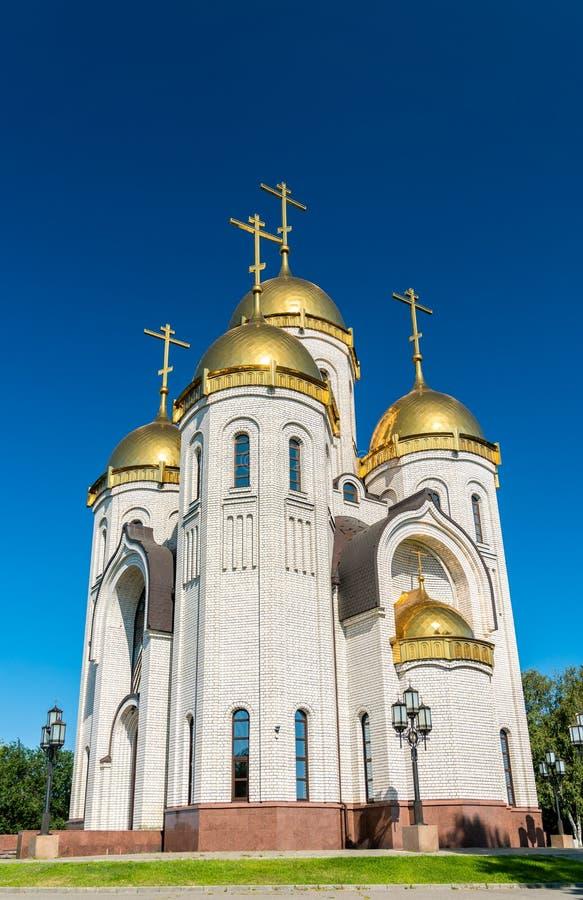 Tutta la chiesa dei san su Mamayev Kurgan a Volgograd, Russia fotografie stock libere da diritti