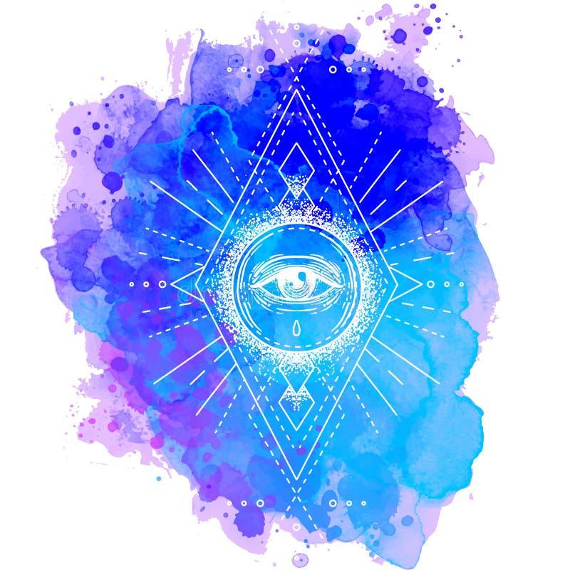 Tutta la composizione decorata vedente nell'occhio Desi d'annata disegnato a mano di stile illustrazione vettoriale