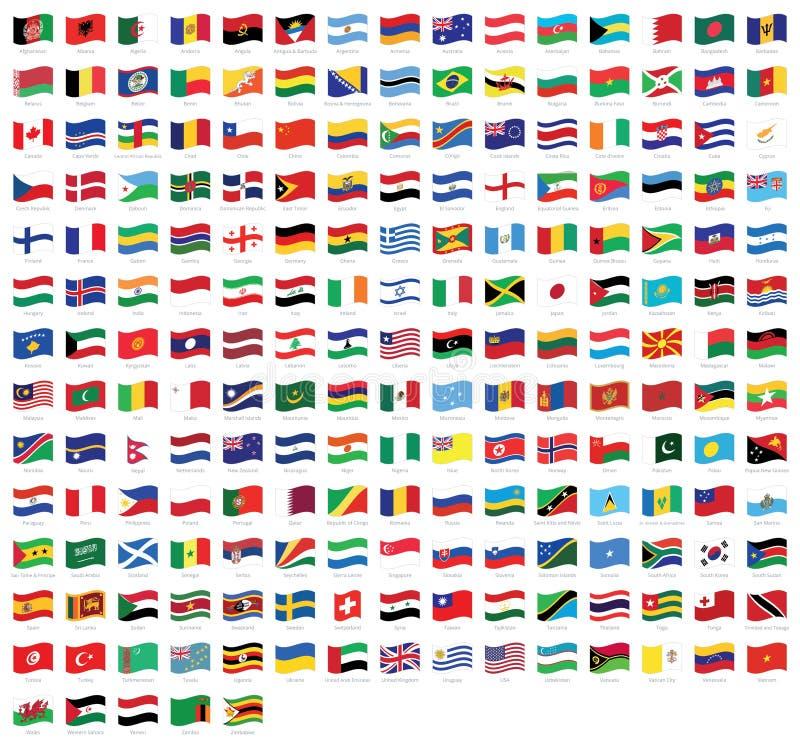 Tutte le bandiere d'ondeggiamento con i nomi - bandiera del mondo nazionale di vettore di alta qualità isolata su fondo bianco illustrazione di stock
