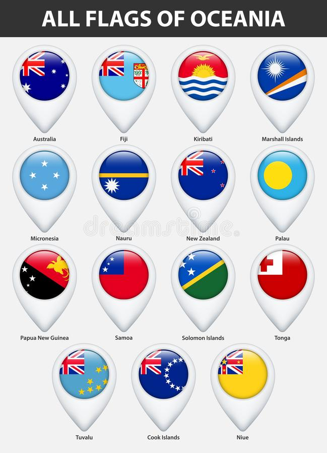 Tutte le bandiere dei paesi di Oceania Stile lucido del puntatore della mappa di Pin royalty illustrazione gratis
