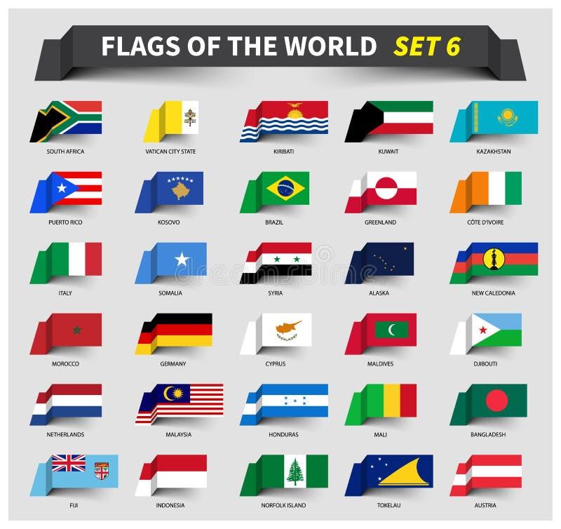 Tutte le bandiere del mondo hanno messo 6 Stile d'ondeggiamento del nastro illustrazione di stock
