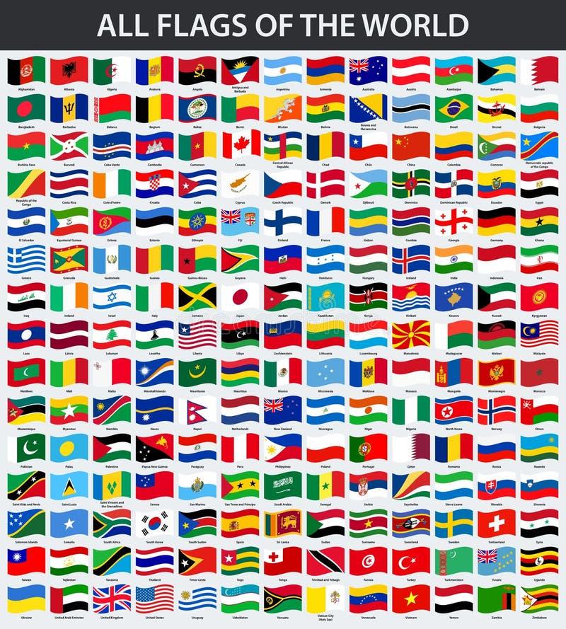Tutte le bandiere del mondo in ordine alfabetico Stile d'ondeggiamento illustrazione di stock