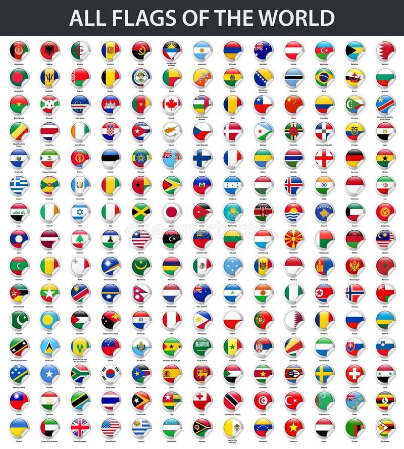 Tutte le bandiere del mondo in ordine alfabetico Stile lucido rotondo dell'autoadesivo illustrazione vettoriale