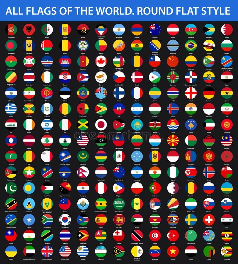 Tutte le bandiere del mondo in ordine alfabetico Stile piano rotondo illustrazione vettoriale