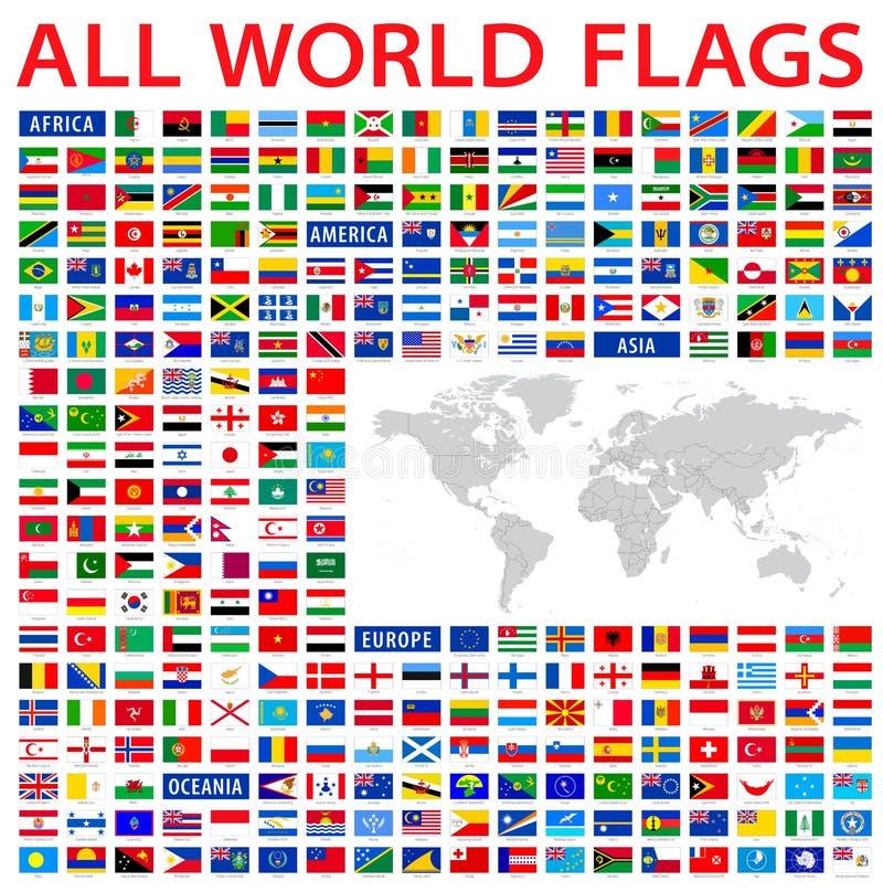 tutte le bandiere di paese del mondo illustrazione di stock