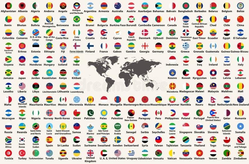 Tutte le bandiere di paesi del mondo nella forma circolare progettano, sistemato in ordine alfabetico, con i colori originali e s illustrazione vettoriale