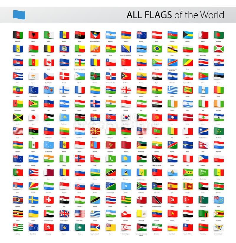 Tutte le bandiere di vettore dell'etichetta del mondo - raccolta illustrazione di stock