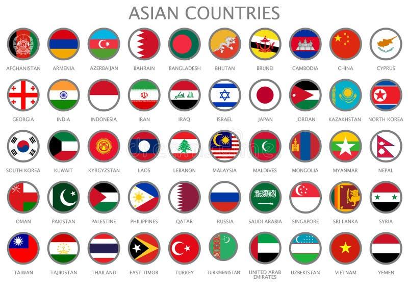 Tutte le bandiere nazionali dei paesi asiatici illustrazione vettoriale