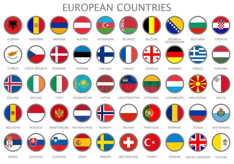 Tutte le bandiere nazionali dei paesi europei illustrazione di stock