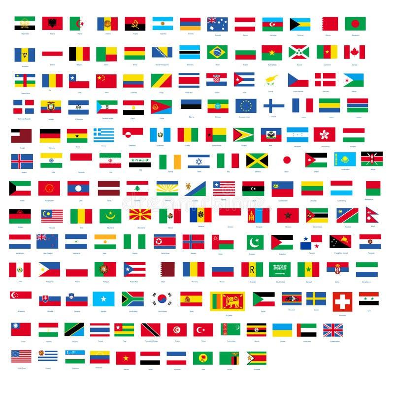 Tutte le bandiere nazionali ufficiali del vettore di progettazione del mondo illustrazione vettoriale