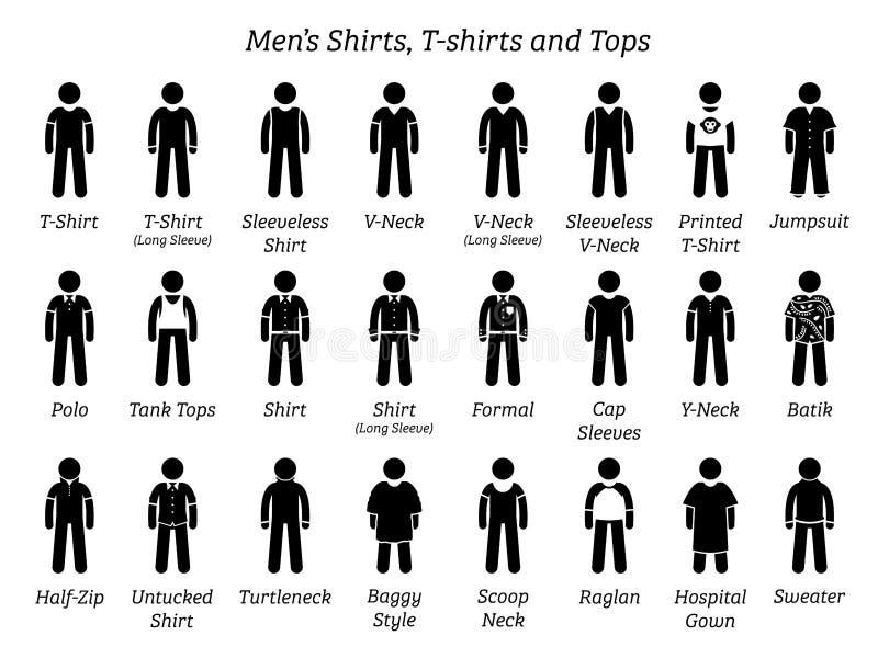 Tutte le camice degli uomini, magliette e progettazioni delle cime illustrazione vettoriale
