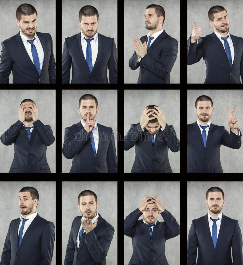 Tutte le emozioni, fronte dell'uomo di affari fotografia stock