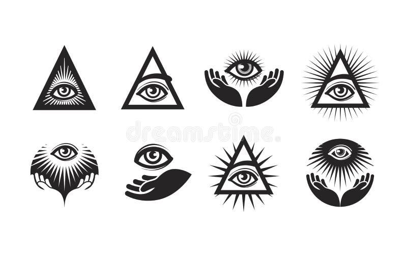 Tutte le icone vedenti dell'occhio messe Simbolo di Illuminati illustrazione di stock