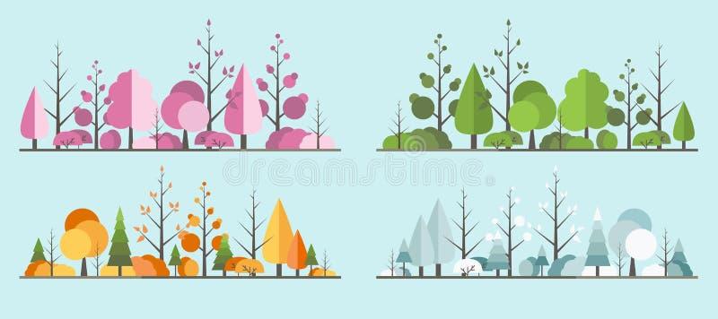 Tutte le stagioni abbelliscono l'albero nello stile piano Un bello parco illustrazione vettoriale