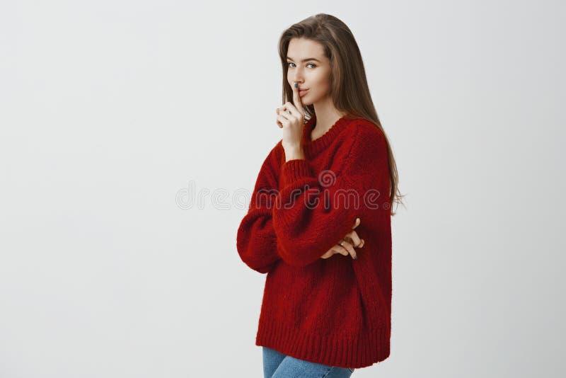 Tutti abbiamo segreti in gabinetti Ritratto della donna europea sensuale romantica in maglione rosso sciolto, stante nel profilo fotografia stock