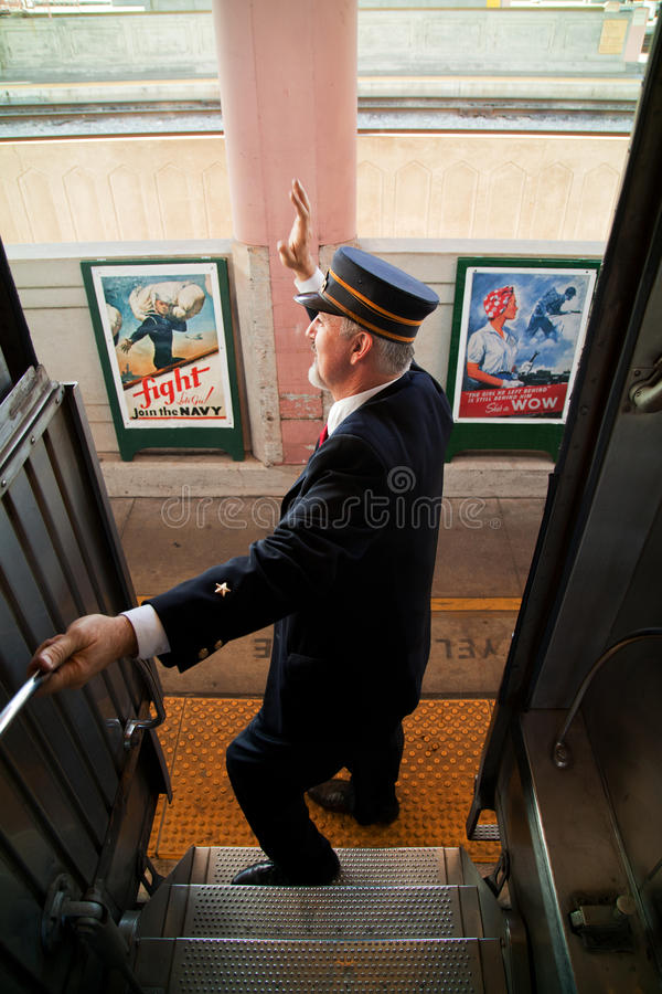 Tutti a bordo del treno di truppa immagine stock libera da diritti