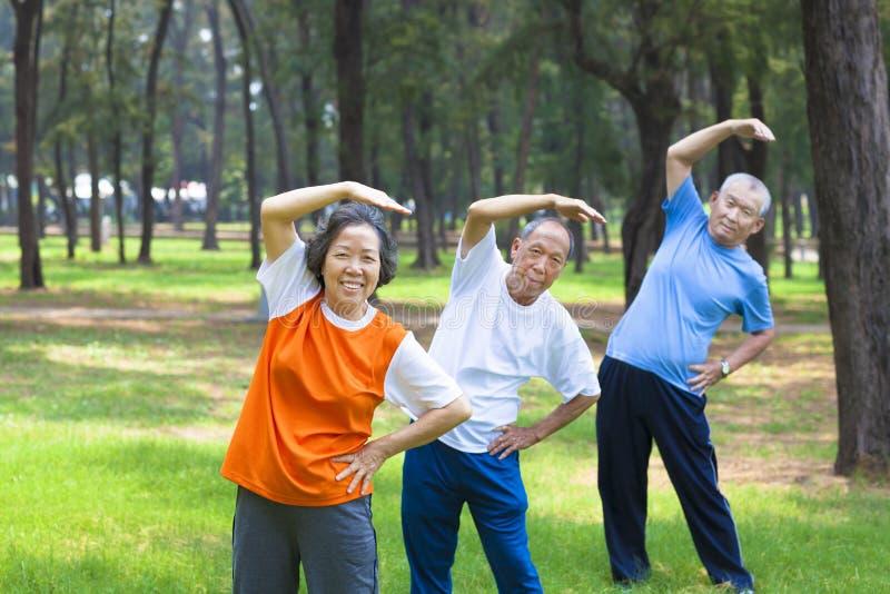 Tutti gli anziani che fanno insieme ginnastica fotografia stock