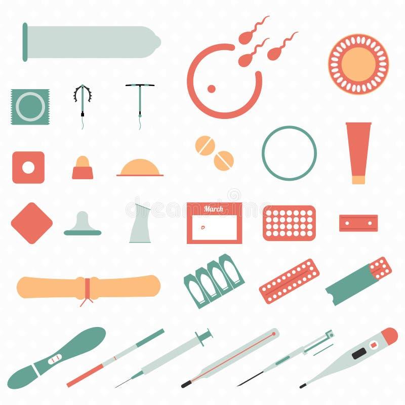 Tutti i tipi e metodi moderni di contraccezione icone fotografie stock libere da diritti