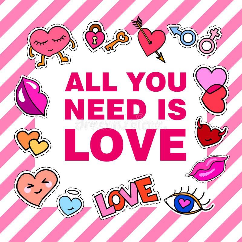 Tutto che abbiate bisogno di è amore Manifesto, insegna con i distintivi della toppa royalty illustrazione gratis