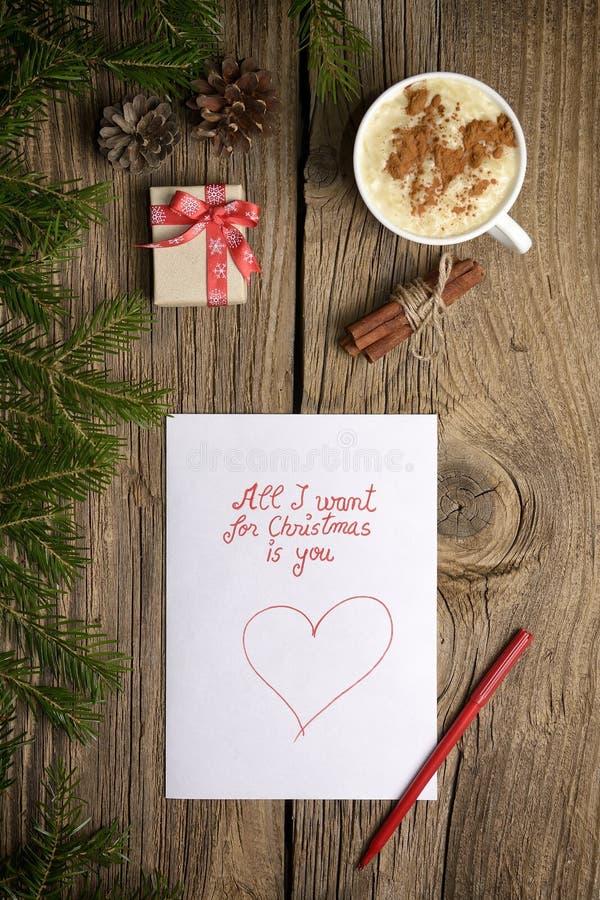 Tutto che voglia per il Natale è voi! fotografia stock
