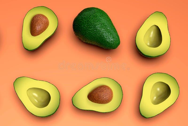 , Tutto e taglio verdi sembranti freschi di avocado a metà, sul rosa royalty illustrazione gratis