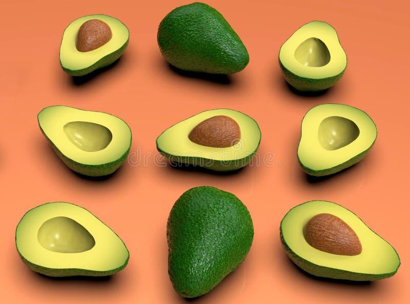 , Tutto e taglio verdi sembranti freschi di avocado a metà, sul rosa illustrazione vettoriale
