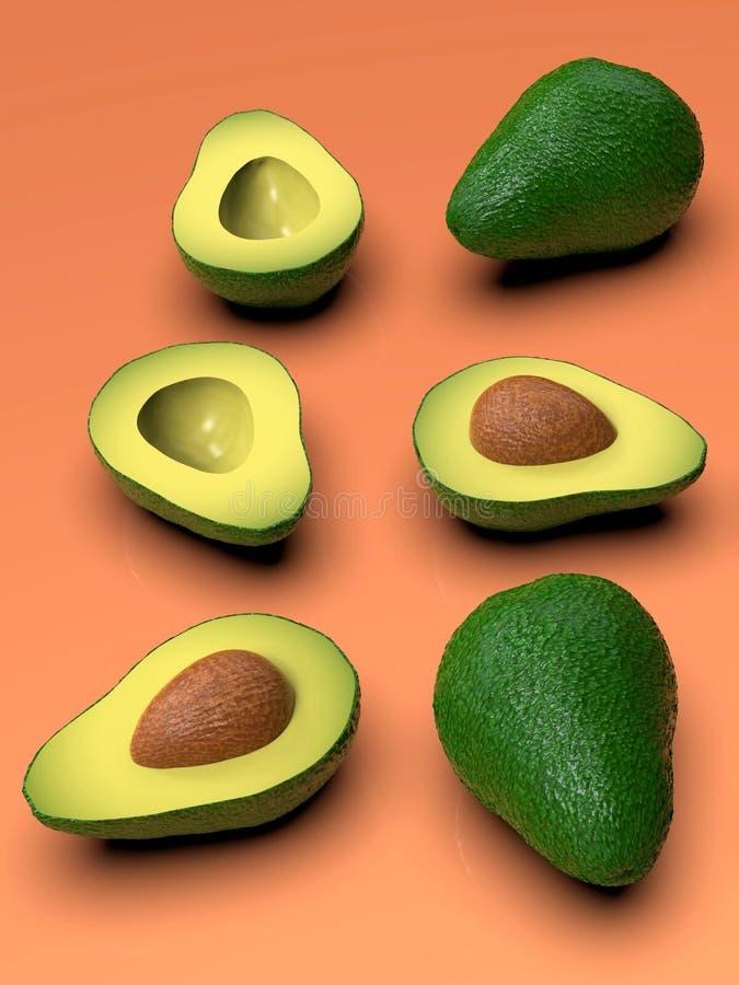 , Tutto e taglio verdi sembranti freschi di avocado a metà, sul rosa illustrazione di stock