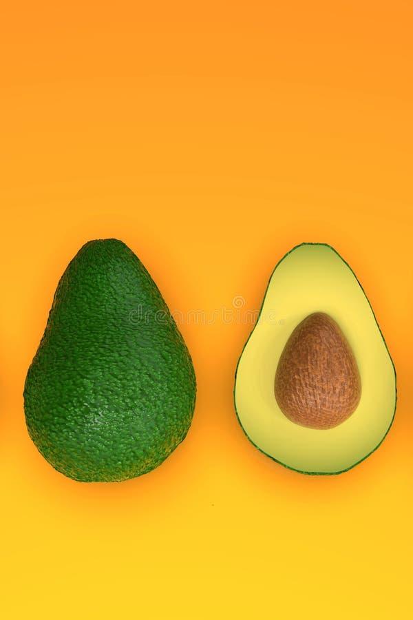 , Tutto e taglio verdi sembranti freschi di avocado a metà, sull'arancia illustrazione vettoriale