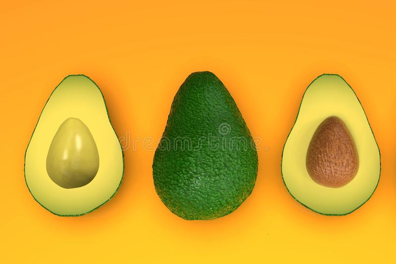 , Tutto e taglio verdi sembranti freschi di avocado a metà, sull'arancia royalty illustrazione gratis