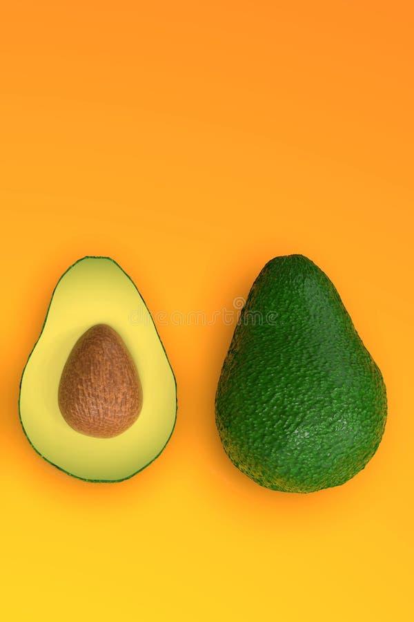 , Tutto e taglio verdi sembranti freschi di avocado a metà, sull'arancia illustrazione di stock