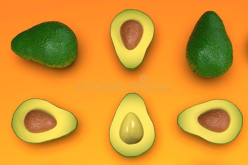 , Tutto e taglio verdi sembranti freschi di avocado, sull'arancia immagini stock