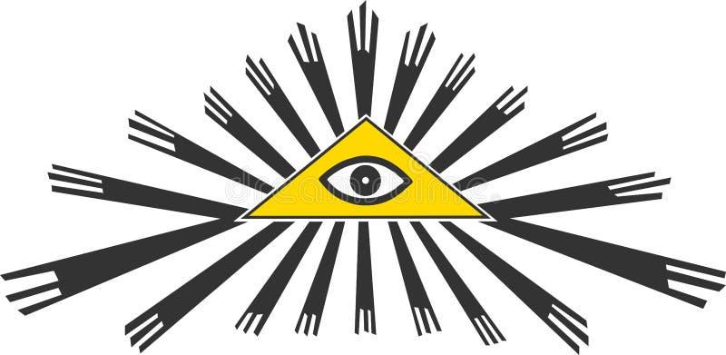 Tutto il simbolo vedente dell'occhio, illustrazione di vettore royalty illustrazione gratis