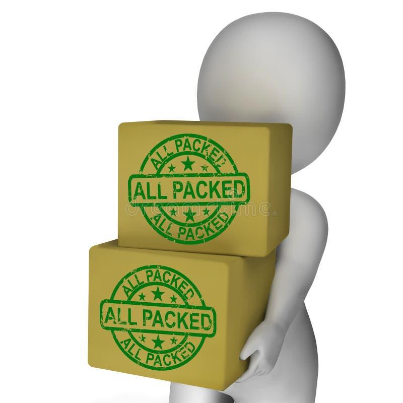 Tutto l'imballaggio medio imballato del prodotto delle scatole illustrazione di stock