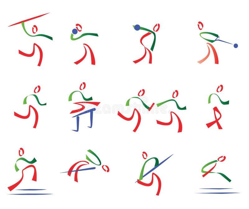 Tutto l'insieme di atletismo delle icone di sport illustrazione di stock