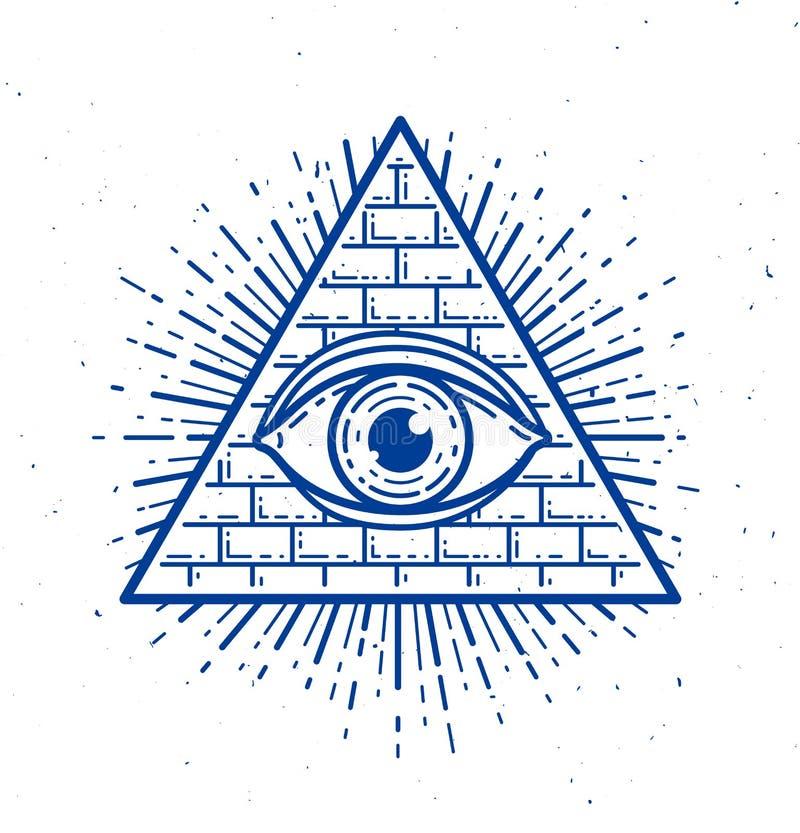 Tutto l'occhio vedente del dio nel triangolo della geometria, in muratura e nel simbolo sacri di illuminati royalty illustrazione gratis